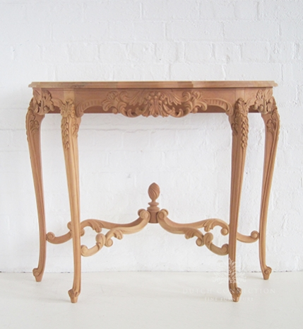 Perfect Half Round Side Table Carved