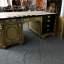 Empire Desk Square Top - Antique Gold with Black Accents