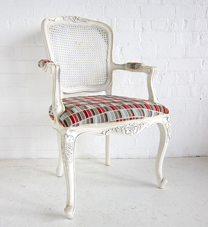 French Carved Armchair With Rattan Back Louis Lily Salon Rattan Back Armchair Painted